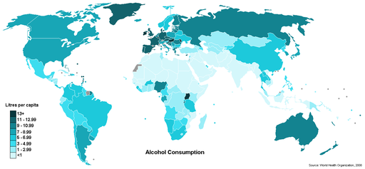 Alcohol consumption per capita world map