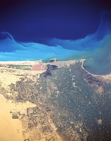 Satellite image of Alexandria and other cities show its surrounding coastal plain Alexandria egypt.jpg