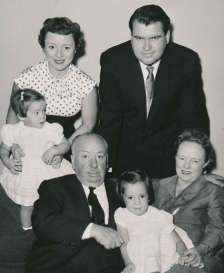 Pat Hitchcock with her daughter Terry and husband Joseph O'Connell, Alma Reville, Mary Alma O'Connell, Alfred Hitchcock (clockwise from top left), c. 1955-1956 Alfred Hitchcock and family circa 1955.JPG