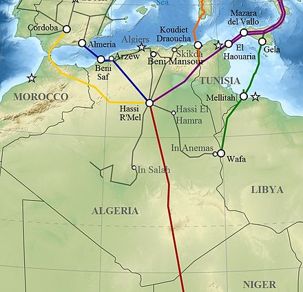 Pipelines across Algeria Algeria pipelines map.jpg