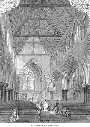 All Saints Notting Hill - Illustration of the interior of the newly completed church in 1866