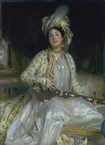 Sargent emphasized Almina Wertheimer's exotic beauty in 1908 by dressing her en turquerie. Almina Daughter of Asher Wertheimer by J S Sargent.jpg