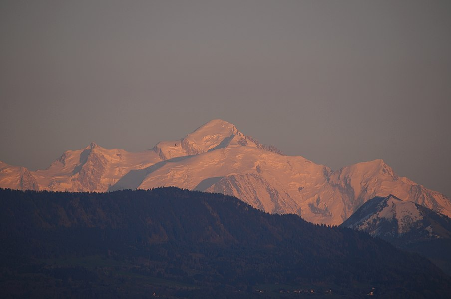 Alpen glowing at sunset on the Mont Blanc 4810m, as seen on 5 May 2016 from Divonne les Bains