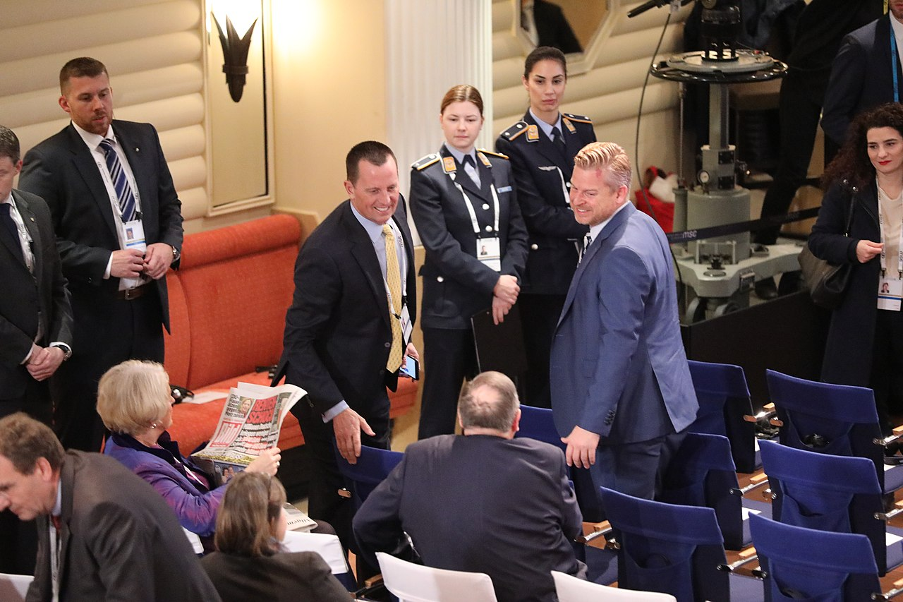 Ambassador Grenell and Matt Lashey await the Arrival of Secretary Pompeo (49557105416).jpg