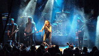 Amorphis - Left-right: T. Koivusaari, N. Etelävuori, T. Joutsen, J. Rechberger, E. Holopainen and S. Kallio performing in 2008