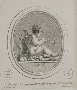 Jacques Guay - Image: Amour at peace in the reign of Justice drawing by François Boucher engraved by Madame de Pompadour after a work by Jacques Guay c. 1755
