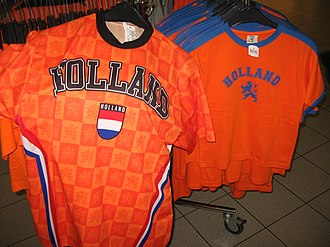 "Terminology of the Low Countries - In football (soccer), the Dutch national team is commonly referred to as ""Holland""; here supporter shirts for sale at Amsterdam Airport"