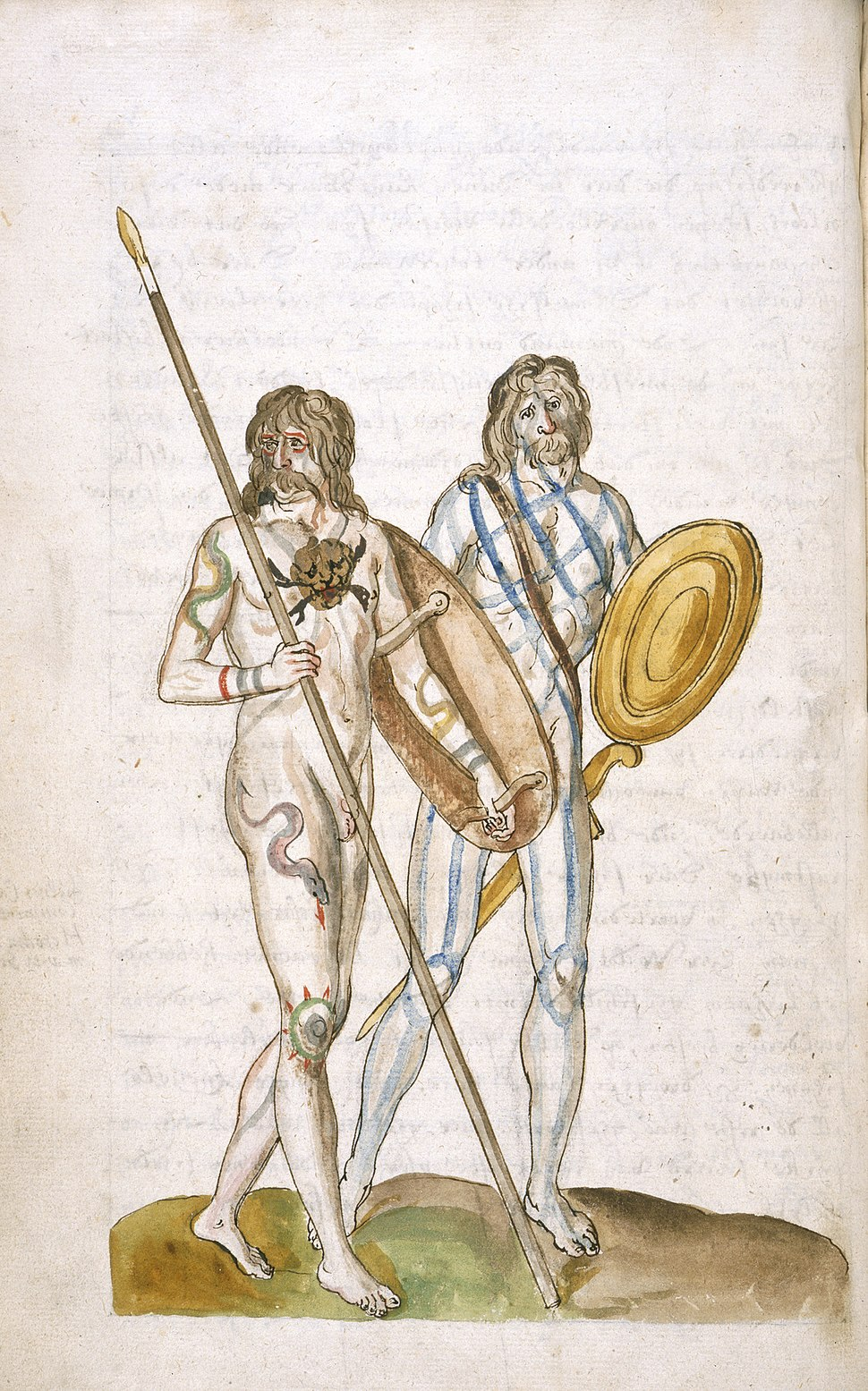 Ancient Britons - Description of Great Britain and Ireland (c.1574), f.8v - BL Add MS 28330