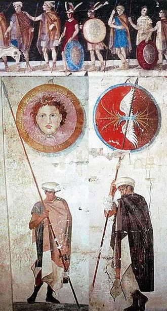 Ancient Greek warfare - Paintings of Ancient Macedonian soldiers, arms, and armaments, from the tomb of Agios Athanasios, Thessaloniki in Greece, 4th century BC