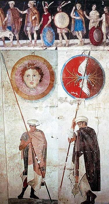 Ancient Macedonian soldiers, from the tomb of Agios Athanasios, Greece