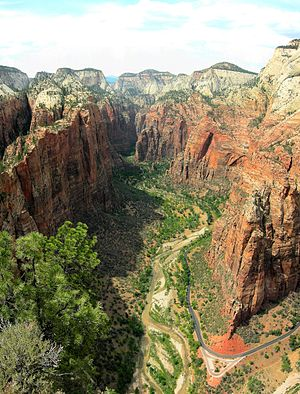 Zion Canyon - Large view of the canyon