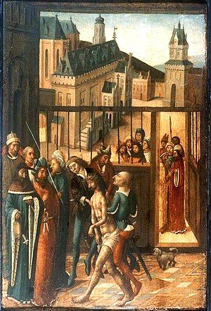 Jacob Bellaert - Christ before Pilate, by the Master of Bellaert, showing the Haarlem City Hall in the background.