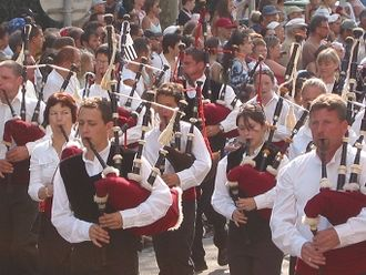 Celtic music - Massed pipers at the Lorient festival