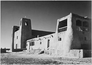 Acoma Pueblo - Mission San Esteban Rey was built c.1641, photograph by Ansel Adams, c.1941