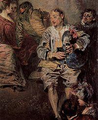 Musette Antoine Watteau Velencei karnevál című  festményén (részlet, 1717.)