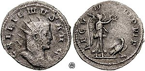 "Legio V Macedonica - This coin was issued by Roman emperor Gallienus to celebrate the V Macedonica, whose symbol, the eagle, is crowned of wrath by Victoria. The legend on the reverse says LEG V MAC VI P VI F, which means ""Legio V Macedonica VI times faithful VI times loyal"""