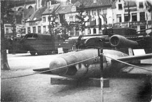 50th Light Anti-Aircraft Brigade (United Kingdom) - Captured V-1 displayed at Antwerp at the end of World War II.