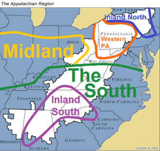 Appalachian English - Appalachia (in white) overlaid with dialect regions defined by the 2006 ANAE. Southern American English is the dominant dialect in the region.