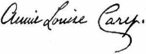 Annie Louise Cary - Image: Appletons' Cary Annie Louise signature