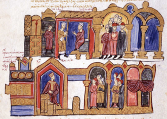 Alexius of Constantinople - Appointment of Alexios Stoudites as patriarch (top) by Emperor Constantine VIII (below)