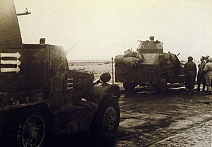 Battles of the Sinai (1948) - Israeli armored vehicles approaching the Sinai border