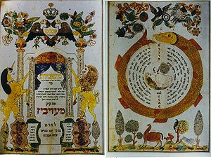 "Apta (Hasidic dynasty) - Illuminated pages from the pinkas (""minutes"") books of the Mishnah Society of the Apter Rov's kloyz, Medzhybizh, circa 1840."