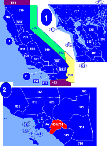 Map of California area codes in blue (and border states) with 714 in red