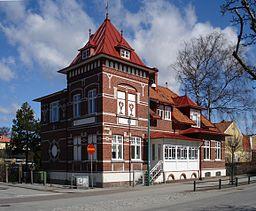 Möllerstedtska huset, Dalbyvägen 16.   Et eksempel på Arlövs murstengsarkitektur med mønstermurning.