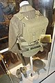 Army uniforms of Norway Post WW2 1945-1950s British battle dress Blouse Webbing M37 Small backpack haversack Entrenching tool Bayonet scabbard Brodie helmet Anklets Ankle boots etc. Tysklandsbrigaden Armed Forces Museum Oslo 2020-02-.jpg