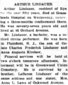 Arthur Oscar Lindauer (1867-1944) obituary in the Rye Chronicle on March 17, 1944.png