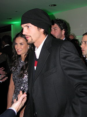 Ashton Kutcher and Demi Moore at the Huffingto...