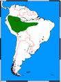 Atelocynus microtis range map.png