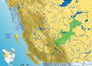 Athabasca River watershed in western Canada