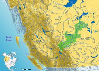 Einzugsgebiet des Athabasca River im westlichen Kanada