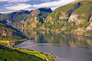 Flåm - View of Aurlandsvangen and Flåm