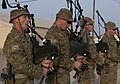 Australian soldiers playing the bagpipes at a ceremony in Iraq during 2017.jpg