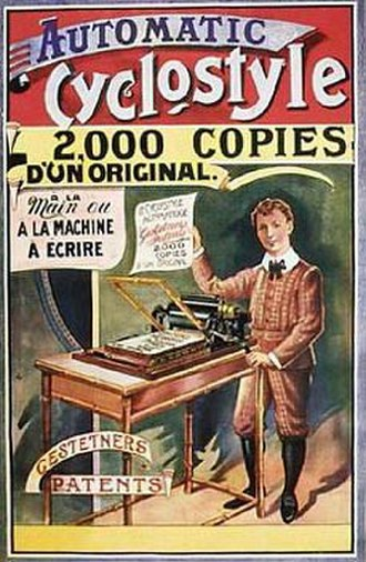 Cyclostyle (copier) - French advertisement for the Gestetner Cyclostyle, circa 1900