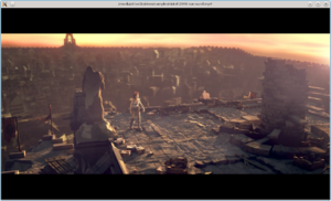 Screenshot of the movie Sintel being played using the avplay program from the Libav project.