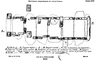 Gallery grave - Drawing of the plan of the segmented gallery grave at La Roche-aux-Fées in France. Capstones (forming the ceiling) are represented by dotted lines.