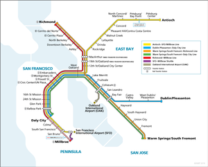 BART weekdays and Saturday system map, Effective February 10, 2020