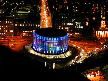 London IMAX has the largest cinema screen in Britain with a total screen size of 520m2. BFI London IMAX at night.jpg