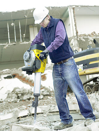 Jackhammer - A Wacker Neuson gasoline-powered breaker on a demolition site