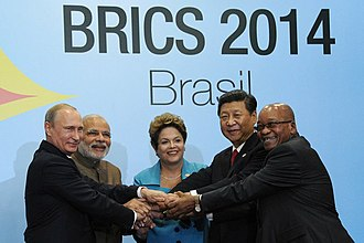 6th BRICS summit - The BRICS leaders at the 6th BRICS summit. Left to right: Putin, Modi, Dilma Rousseff, Xi and Zuma.