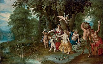 Abraham Govaerts - Bacchus, Venus and Ceres, an allegory of Autumn, collaboration with  Hendrik van Balen