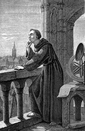Roger Bacon - A 19th-century engraving of Bacon observing the stars at Oxford