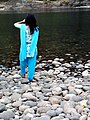 Bangladeshi girl taking snap at Piyain River (01).jpg