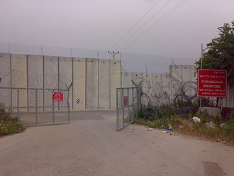 Baqa al-Gharbiyye - Separation Barrier passing through eastern Baqa al-Gharbiyye