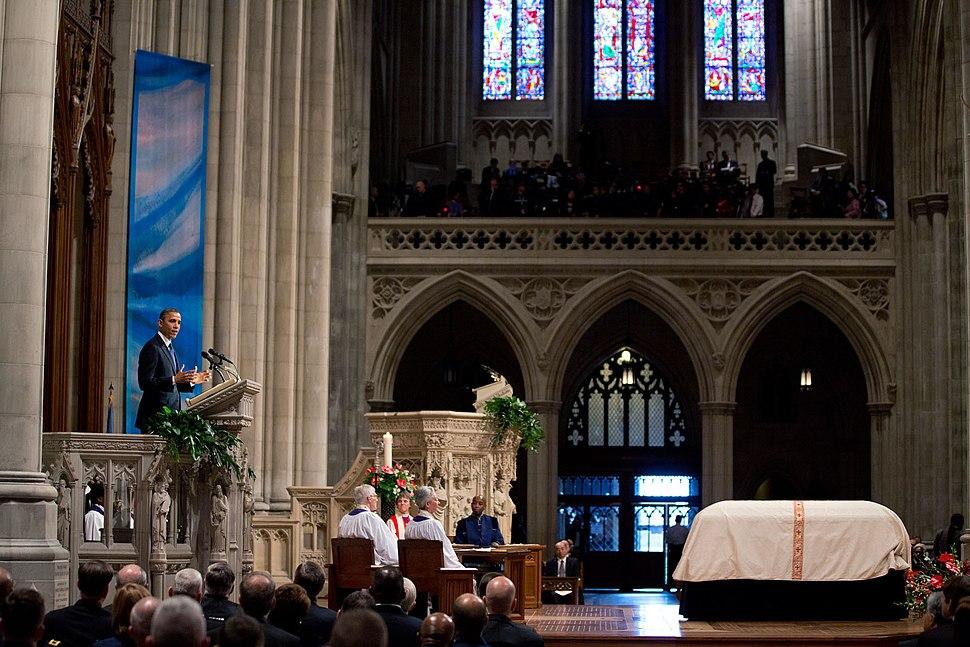 Barack Obama speaking at Daniel Inouye funeral service