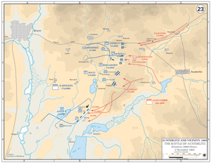 Map with blue lines showing the French advance against the Allied center, symbolized with red lines.
