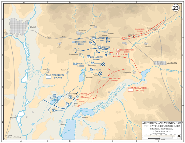 The decisive attacks on the Allied centre by St. Hilaire and Vandamme split the Allied army in two and left the French in a golden strategic position to win the battle. Battle of Austerlitz - Situation at 0900, 2 December 1805.gif